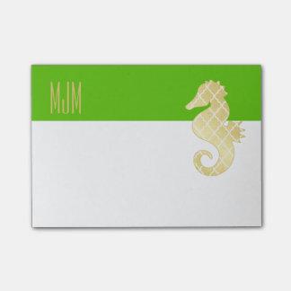 Bloco De Notas Verde tropical do cavalo marinho da praia formal