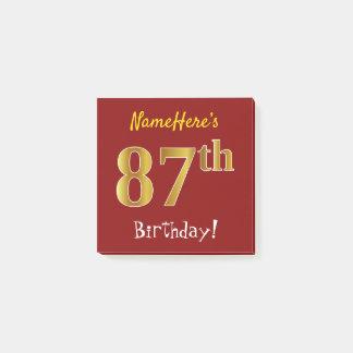 Bloco De Notas Vermelho, aniversário do ouro do falso 87th, com