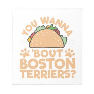 Bloco De Notas Você quer aos terrier de Boston do ataque do Taco?