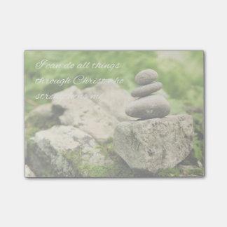 Bloco Post-it 4:13 de equilíbrio dos Philippians das rochas