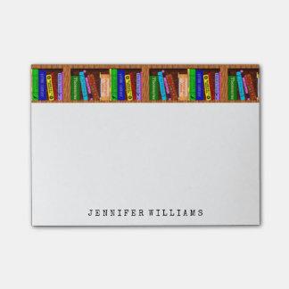 Bloco Post-it A biblioteca registra o escritor do professor de