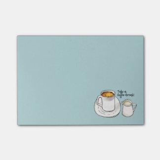 Bloco Post-it Aguarela da ruptura de café e ilustração da tinta