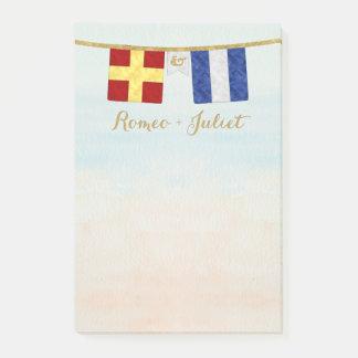 Bloco Post-it Aguarela marítima das bandeiras de sinal do