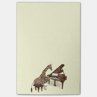 Bloco Post-it Amores doces do girafa para jogar o piano