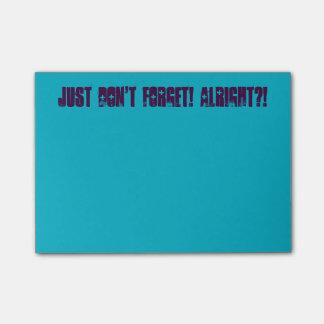 Bloco Post-it Apenas não esqueça! Notas de