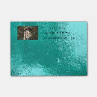 Bloco Post-it Aqua de Tiffany do oceano do nome da nota da foto