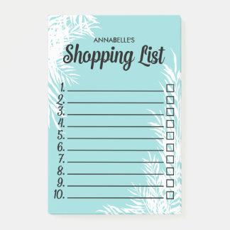 Bloco Post-it As folhas do branco numeraram a lista de compra da