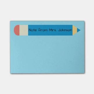 Bloco Post-it Azul da nota do lápis