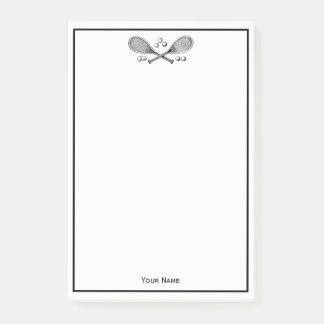 Bloco Post-it Bolas de tênis cruzadas vintage das raquetes de