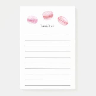Bloco Post-it Bonjour | Macarons cor-de-rosa alinhado
