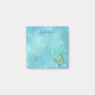 Bloco Post-it Borboleta na aguarela azul