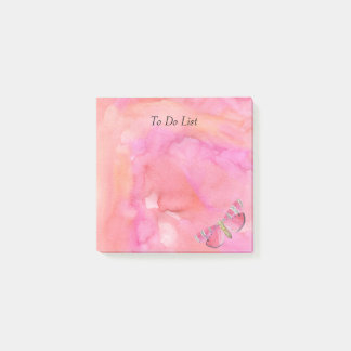 Bloco Post-it Borboleta na aguarela cor-de-rosa