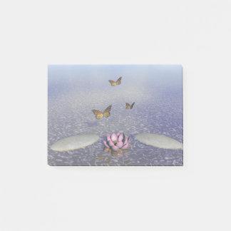 Bloco Post-it Borboletas em vôo em uma paisagem do zen