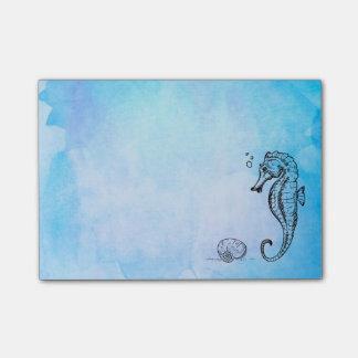 Bloco Post-it Cavalo marinho e Seashell na aguarela azul