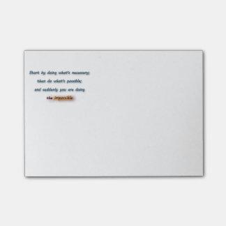 Bloco Post-it Citações de inspiração - comece fazendo o que é…