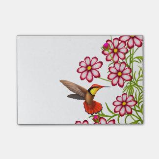 Bloco Post-it Colibri do rubi em notas de post-it das flores