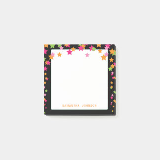Bloco Post-it Confetes coloridos brilhantes da estrela,