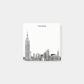 Bloco Post-it Cor gravada da skyline DIY BG de NYC