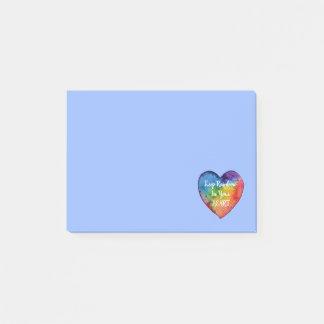 Bloco Post-it Coração bonito do arco-íris da aguarela