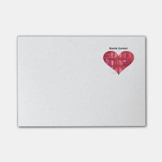 Bloco Post-it Coração do amante de livro