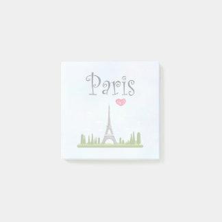 Bloco Post-it Coração Paris com torre Eiffel