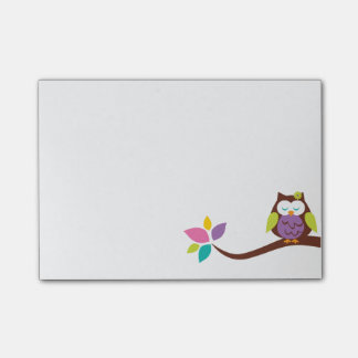 Bloco Post-it Coruja colorida pequena bonito em um ramo