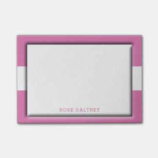 Bloco Post-it Criar seu próprio rosa feminino bonito Monogrammed