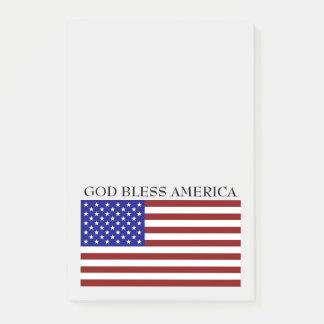 Bloco Post-it Da bandeira branca de América dos deus abençoe