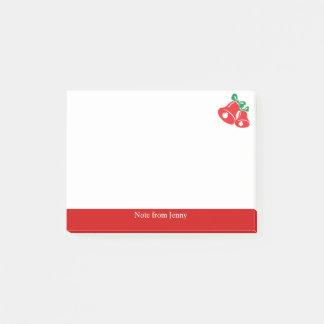 Bloco Post-it Da fita vermelha do verde de Bell do Natal texto