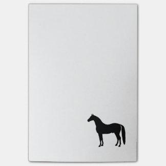 Bloco Post-it Desenho elegante da silhueta do cavalo do garanhão