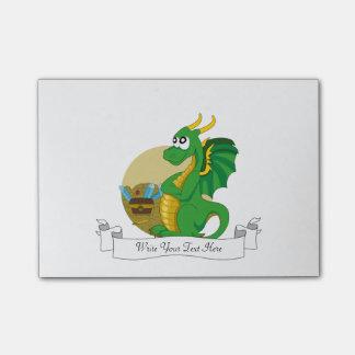 Bloco Post-it Desenhos animados do dragão verde