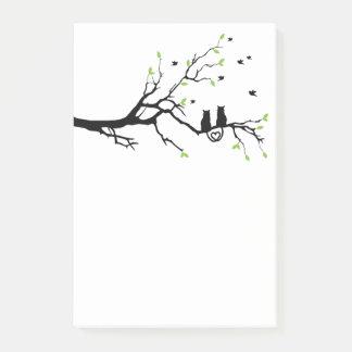 Bloco Post-it Dois gatos na silhueta da árvore de amor