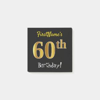 Bloco Post-it Enegreça, aniversário do ouro do falso 60th, com