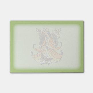 Bloco Post-it Fada alaranjada da borboleta com vestido de fluxo