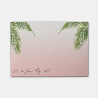 Bloco Post-it Femininos à moda elegante, folhas de palmeira