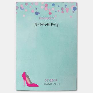 Bloco Post-it Festa de solteira dos confetes do rosa do estilete