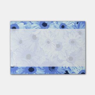 Bloco Post-it Flores do Gerbera, pétalas, flores - azul