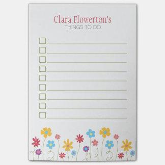 Bloco Post-it Flores Funky do primavera para fazer a lista
