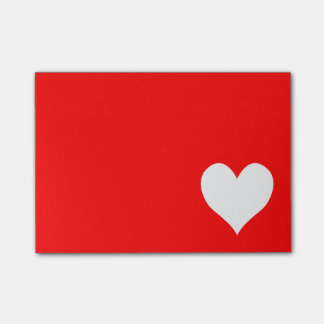 Bloco Post-it Forma vermelha e branca bonito do coração