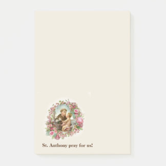Bloco Post-it Grinalda cor-de-rosa dos rosas de Jesus do bebê de