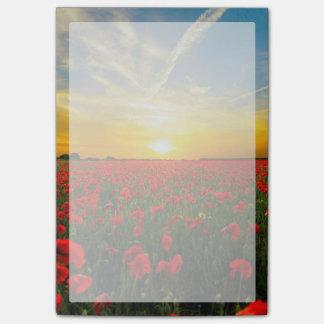 Bloco Post-it Horizonte maravilhoso do por do sol do campo da