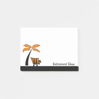 Bloco Post-it Ideias da aposentadoria da cadeira e da palmeira