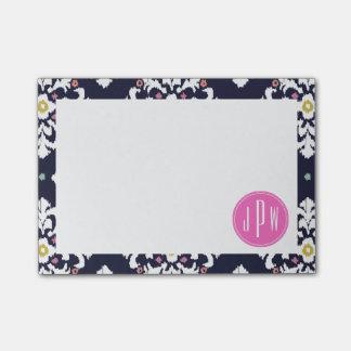 Bloco Post-it Ikat & monograma cor-de-rosa