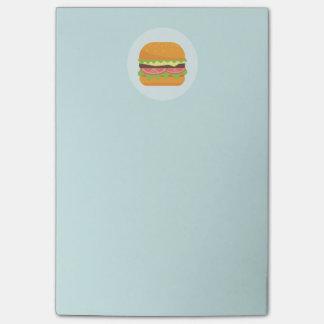 Bloco Post-it Ilustração do Hamburger com tomate e alface
