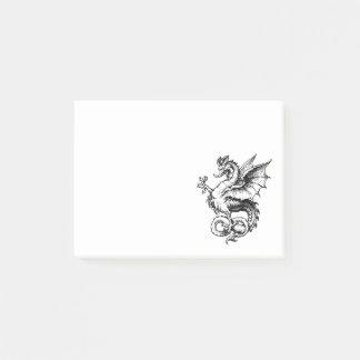 Bloco Post-it Ilustração heráldica feroz do dragão do vintage