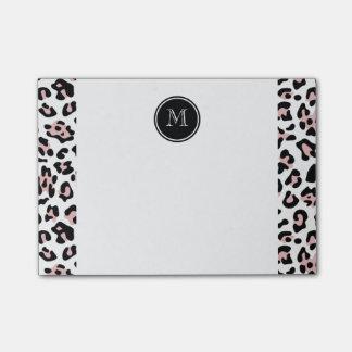 Bloco Post-it Impressão animal do leopardo preto cor-de-rosa com