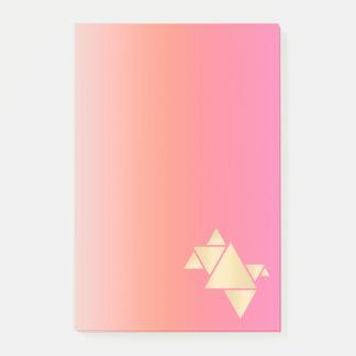 Bloco Post-it Inclinação alaranjado cor-de-rosa geométrico do