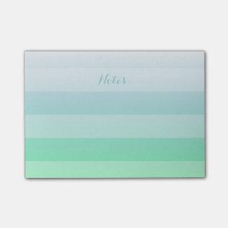 Bloco Post-it Inclinação azul de Ombre do verde customizável do