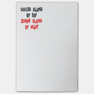 Bloco Post-it Jogador de futebol do assassino do zombi
