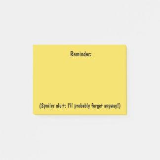 Bloco Post-it Lembrete com notas pegajosas de um alerta da